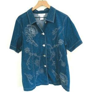 Susan Graver Denim Embroidered Shirt 1X